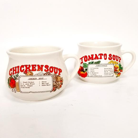 Vintage Lot - 2 Chicken and Tomato Soup Recipe Mug